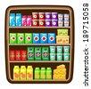 Supermarket. Shelfs with food. vector  - stock vector