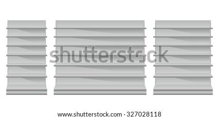 Supermarket Shelves Front View - stock vector