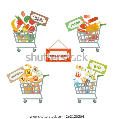 Supermarket shopping cart decorative icons set with food and commerce signs isolated vector illustration - stock vector