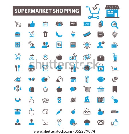 supermarket shopping retail  icons, signs vector concept set for infographics, mobile, website, application  - stock vector
