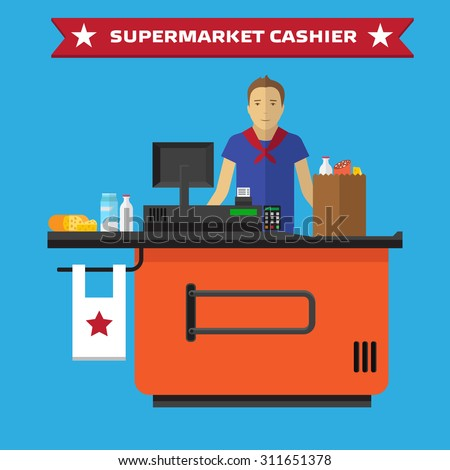 Supermarket store counter desk equipment and clerk in uniform ringing up grocery purchases. Flat style vector illustration isolated on blue background. - stock vector