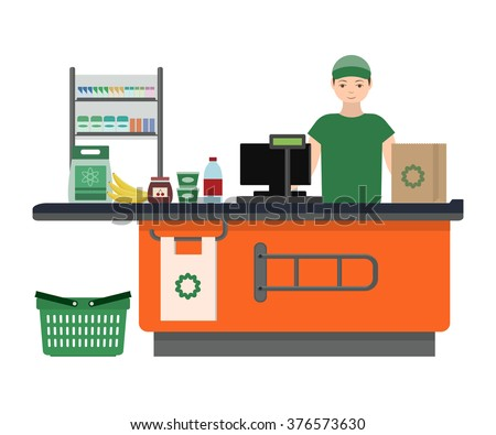 Supermarket store counter desk equipment and clerk in uniform ringing up grocery purchases. Flat style vector illustration isolated on white background - stock vector