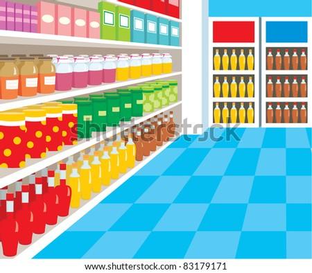 Supermarket. vector, color full, no gradient - stock vector