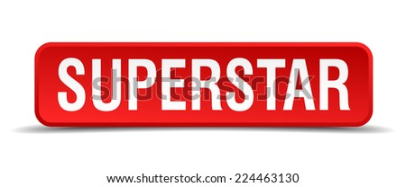 Superstar red 3d square button isolated on white