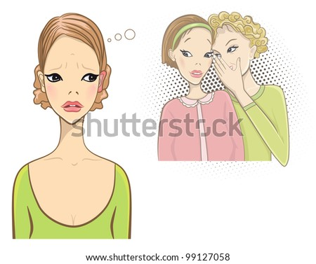 Superstition concept. Red and hot ears. Gossip girls. - stock vector