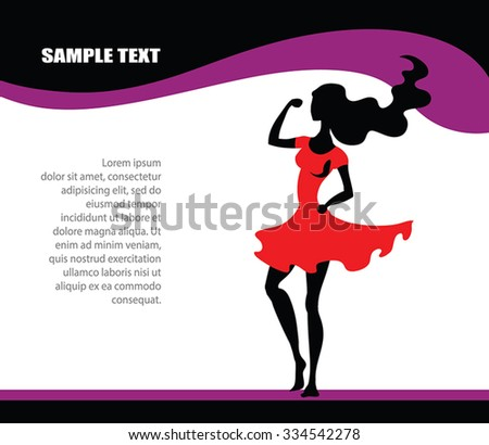 SuperWoman page design - vector black young woman silhouette, red dress.On abstract wavy background. Sexy healthy woman with strong arm. As frame. Better as fitness center or supplements advertising. - stock vector