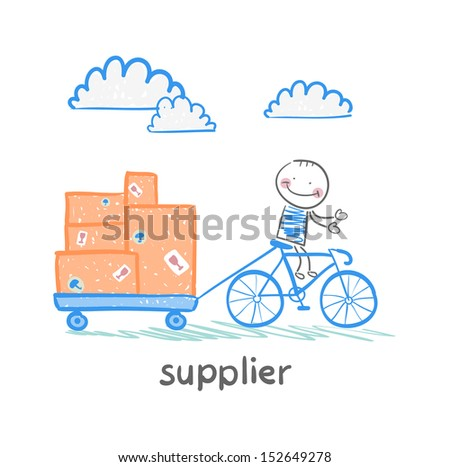 supplier supplier rides a bike with a cart of goods - stock vector