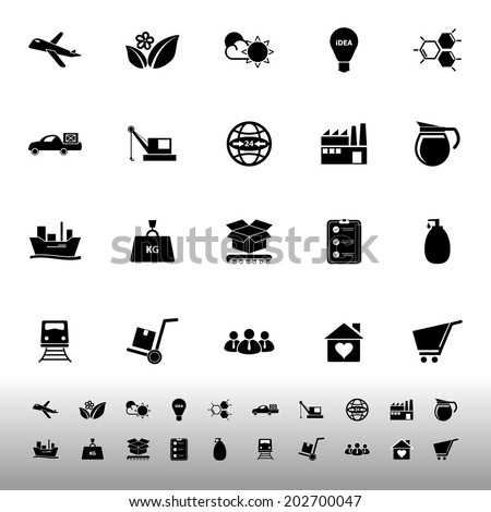 Supply chain and logistic icons on white background, stock vector