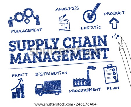 Supply Chain Management. Chart with keywords and icons  - stock vector