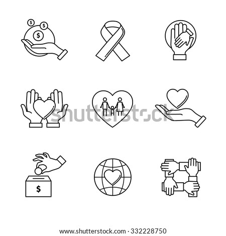 Support and care icons thin line art set. Black vector symbols isolated on white. - stock vector