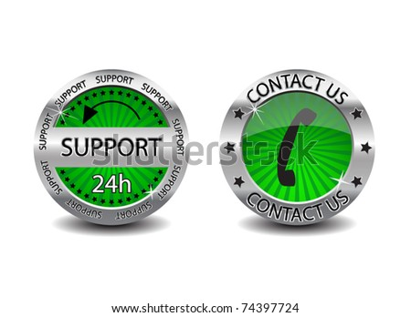 Support and Contact Us buttons - stock vector
