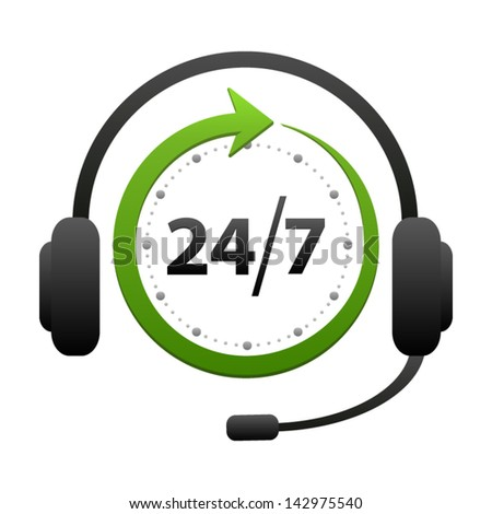 Support and help around the clock or 24 hours a day and 7 days a week icon isolated on white background. Call center vector icon - stock vector