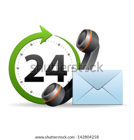 Support and service around the clock or 24 hours a day icon isolated on white background. Vector. - stock vector