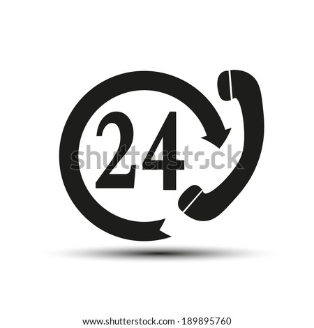Support and service - around the clock or 24 hours a day. Vector icon - stock vector