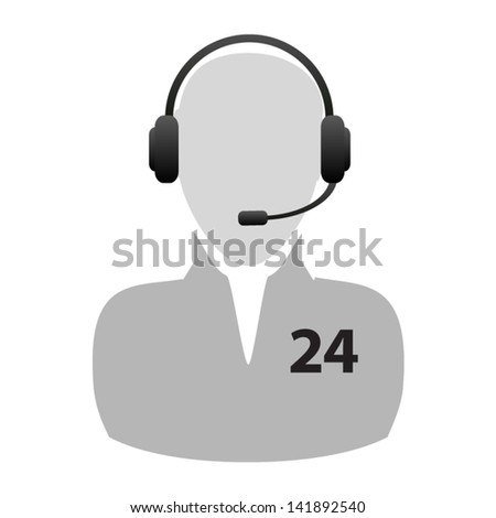 Support - around the clock or 24 hours a day icon isolated on white background. Vector - stock vector