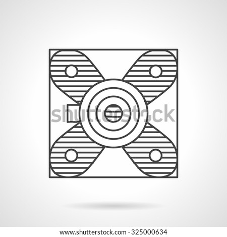 Support bearing or block bearing. Flat line style vector icon. Spare parts, details and components of different mechanisms. Design symbols for business and website. - stock vector
