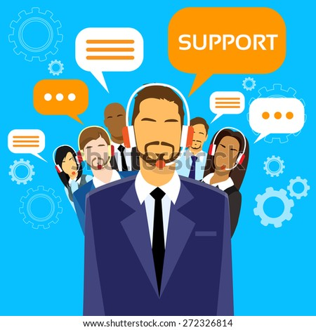 Support Business People Group Technical Team On Line Chat Flat Vector Illustration - stock vector