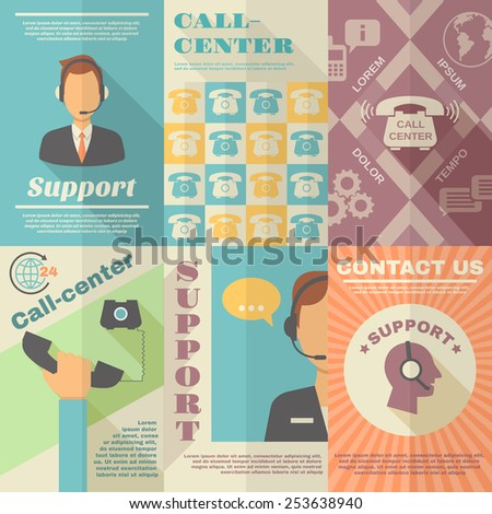 Support call center contact us vintage mini poster set isolated vector illustration - stock vector