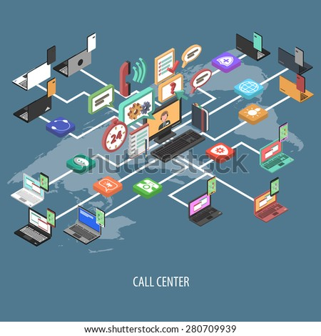Support Call Center Isometric Flowchart Concept Stock Vector ...