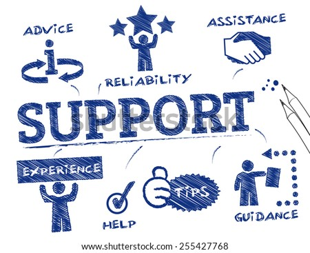Support. Chart with keywords and icons - stock vector