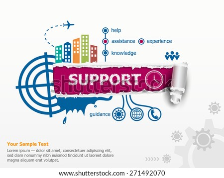 Support concept and breakthrough paper hole with ragged edges.  - stock vector