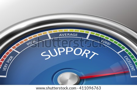 support conceptual 3d illustration meter indicator isolated on grey background