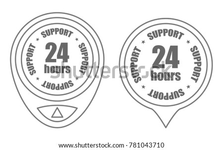 support 24 hours outline icon