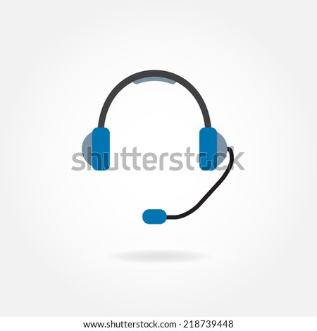 Support Icon: headphones with microphone. Vector illustration. - stock vector