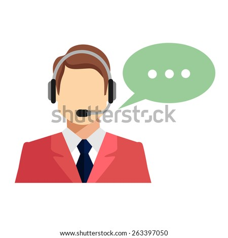 Support manager icon. Vector illustration. Isolated on white background.