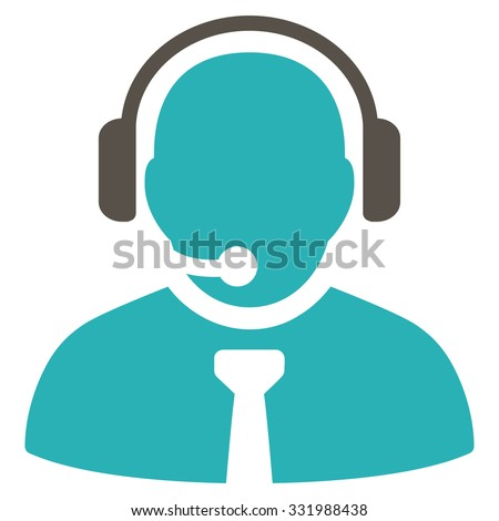 Support Manager vector icon. Style is bicolor flat symbol, grey and cyan colors, rounded angles, white background. - stock vector