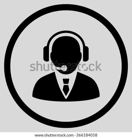 Support Manager vector icon. Style is flat circled symbol, color, rounded angles, white background. - stock vector