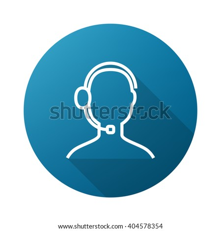 Support Outline Icon White on Gradient Background with Long Shadow - stock vector