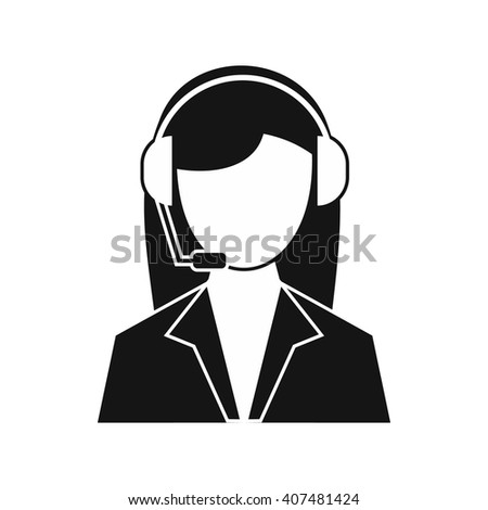 Support phone operator in headset icon - stock vector