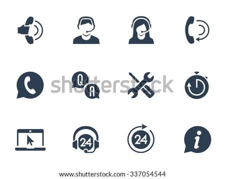 Support service and telemarketing vector icon set - stock vector