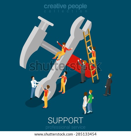 Support service professional guarantee maintenance concept flat 3d web isometric info graphic concept vector. Micro people on big hummer wrench sign. Creative people collection. - stock vector