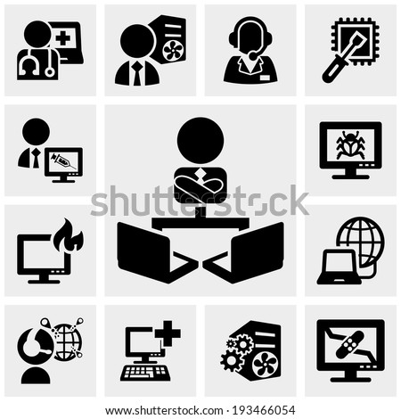 Support, working on computer icons set on gray - stock vector