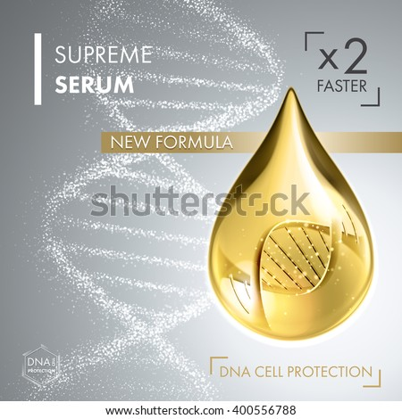 Supreme collagen oil drop essence with DNA helix. Premium shining serum droplet. Vector illustration of collagen drop. Cosmetics solution  - stock vector