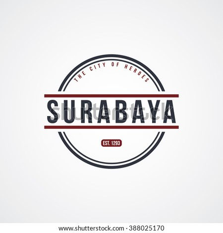surabaya badge indonesia label theme