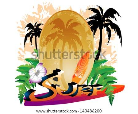 Tropical Background Surfer Palm Trees Stock Vector