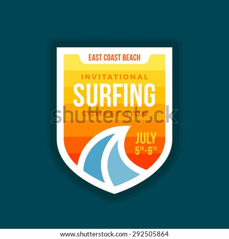 Surf badge shield with wave illustration emblem graphic - stock vector