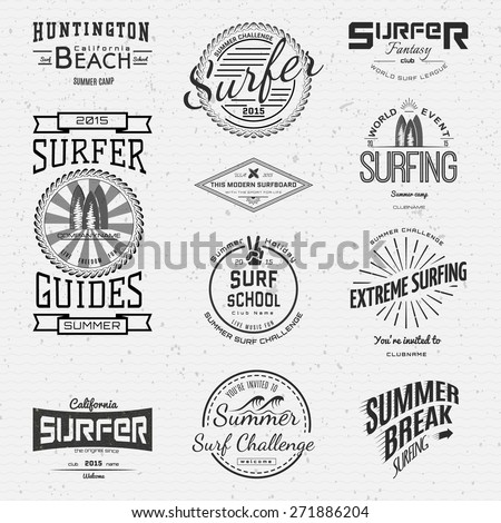 Surf badges logos and labels for any use,  isolated on white background. EPS10 - stock vector