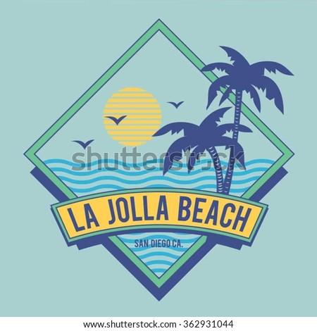 Surf beach typography, t-shirt graphics, vectors - stock vector