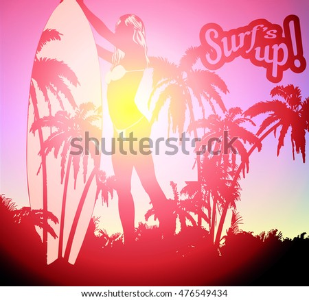 Surf board and young pretty woman bikini and palm trees