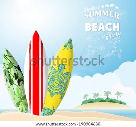 Surf boards on sea beach - stock vector