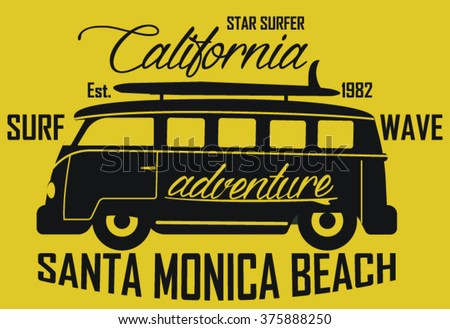 Surf Bus California Santa Monica  vector print and varsity. For t-shirt or other uses in vector.T shirt graphic - stock vector