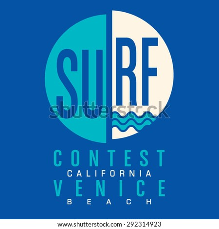 Surf California typography, t-shirt graphics