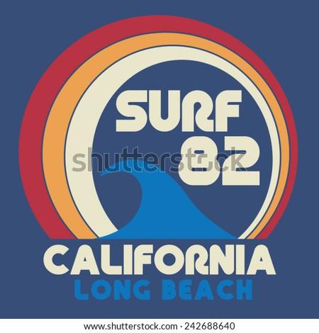 Surf California  typography, t-shirt graphics, vectors - stock vector