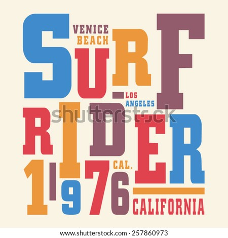 Surf California typography, t-shirt graphics, vectors