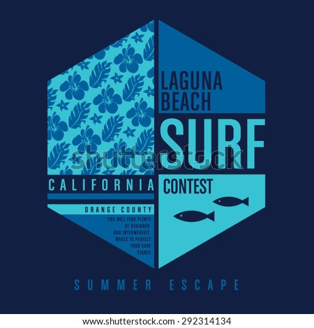 Surf California typography, t-shirt graphics, vectors, flowers  - stock vector