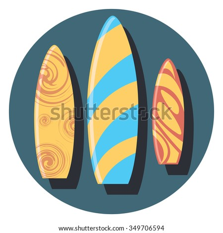 surf circle icon with shadow - stock vector